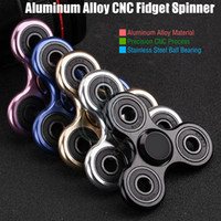 Wholesale Newest Fidget Spinner Toy Triangle Hand Spinners Aluminum alloy CNC Torqbar Stainless Bearing EDC Finger Tip Rotation decompress HandSpinner