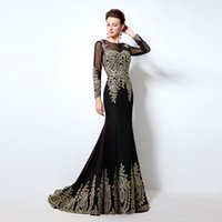 Wholesale Black Long Sleeves Mermaid Evening Dresses Sheer Scoop Backless Sweep Train Lace Appliques Prom Gowns Custom