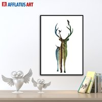 big head pictures - Nordic Vintage Deer Head Animals Silhouette A4 Big Art Print Poster Wall Picture Canvas Painting No Framed Home Decor