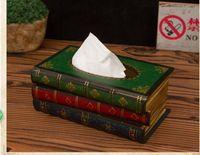 bamboo wood sheets - A wood gift European Jingmei book shaped wooden box American retro ornaments European book paper towel box