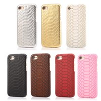 artificial snakes - Glossy PU Leather Artificial Snake Skin Python Grain Phone Cover PC Silicone Hybrid Mobile Phone Cases for Iphone6 plus Iphone7 plus