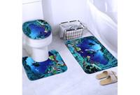 Wholesale 3pcs set Bathroom Non Slip Soft Comfortable Blue Shark Pedestal Rug Lid Toilet Cover Bath Mat Floor Carpet