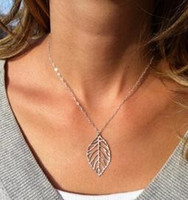 Celtic base metal chains - New Fashion Simple Statement Forest Based Metal Leaf Necklace Female Pendant Necklace Jewelry