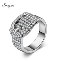 Wholesale New Fashion Style Crystal Rings Belt Shape Cluster Ring Jewelry Making for Women Silver Gold Plated