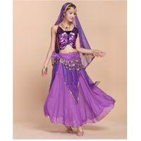 belly dance bra set - High End Sexy Indian Belly Dance Dress Butterfly Bra Tops Highlights Skirt Veil Belt Costume Women Exotic Clothing Set