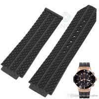 achat en gros de x bracelet noir-26 / 25mm X 19mm Montre Lug Big Bang Montres Bracelet Haute Qualité Noir Litchi Caoutchouc Hommes Montre Bracelet Bracelet Bande
