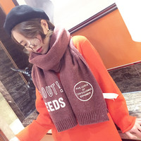 Wholesale 2016 korean style fashion super long letters scarf with the men and women lovers joker collar thickening in the fall and winter to keep warm
