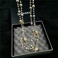 Wholesale Hand pearl digital letter long necklace