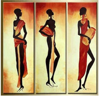 Oil Painting african wall - African Girl Abstract Modern Art Hand Painted Oil Painting on Canvas Wall Art Deco Home Decoration for living room Panels