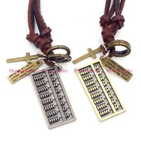 abacus gifts - Hip Hop Jewelry Leather Necklace Pendant Abacus Accessories Metal Pendulum Amulet Women Mens Jewelry Decorations Gifts