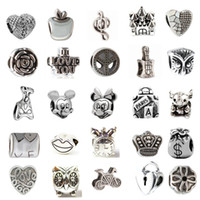 Wholesale Mix Different Alloy Charm Bead Retro Big Hole Silver Plated Fashion Women Jewelry European Style For Pandora Bracelet Promotion