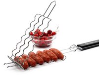 Wholesale High Quality BBQ Wire Mesh Tool with Wooden Handle to Grill and Turn Several Sausages or Hotdog at One Time