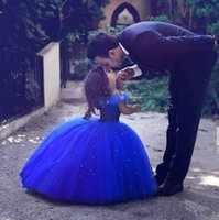 Wholesale Cinderella Royal Blue Lovely Tulle Flower Girl Dresses Off Shoulder Ball Gown Girls Formal Dresses Mini Style Mother and Daughter Dresses