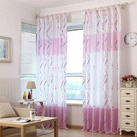 Wholesale Taotown s cm Fresh Purple Print Sheer Window Curtains For Living Room Bedroom goog quality