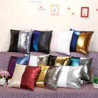 Wholesale 23 colors Mermaid Sequin Pillowcases Reversible Sequin Mermaid Sequin Pillow Magical Color Changing Throw Pillow Cover Home Decor Cushion