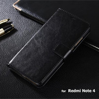 Wholesale Redmi Note Case High Quality Crazy Horse Wallet Flip Leather Case For Xiaomi Redmi Note Note4 Pouch Cover Coque Skin Cases