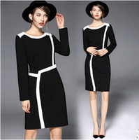 Wholesale Hot Fashion Office Wear Woman The New Fair Maiden Temperament of Long Sleeve Slim Cultivate One s Morality Dress