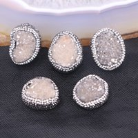 Wholesale 10PCS Charm Gray Quartz Stone Beads with Pave Crystal Druzy Gem stone Connectors Jewelry Findings