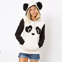 Wholesale New Europe and the United States cute cute panda cute printed fleece hit black and white women s sweater