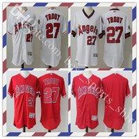 Красная форель Цены-Мужские футболки Flexbase Ретро Лос-Анджелес Ангелы Анахайма Майк Форель # 27 Throwback сшитые логотипы вышивки Белый красный бейсбол Джерси