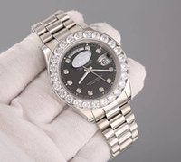 Wholesale Super N White Gold DayDate mm President Watch With Diamond Bezel And Black Diamond Dial