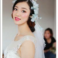 art rosettes - The new Korean Sen female line art fresh tian mei rosette blue pink short flower bride wedding dress accessories soft gauze veil
