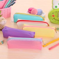 Wholesale Fashion Stationery Pencil Bag Transparent Pen Cases Student School storage Bag Supplies Files Organazier Lady Cosmetic Bag Gifts