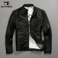 Wholesale Kenntrice Genuine Leather Jackets Men Coats Genuine Sheepskin Brand Black Male Motorcycle Leather Jacket Winter Coat Men