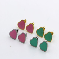 girls cute heart stud earrings achat en gros de-Boucles d'oreilles à la mode en argent sterling Fashion Cute Tiny Pink Heart Stud Earrings Gift For School Girls Kids Lady