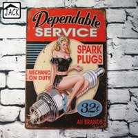 Wholesale Dependable Service Sexy Lady Advertising Plaque Metal Plate Poster X30CM Vintage Tin Signs Bar Club Garage Home Wall Decor