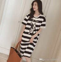 Wholesale In the summer of pregnant women with pregnant women dress long Korean striped cotton T shirt dress women breastfeeding16097