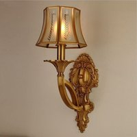 Frosted Glass Europe Wall Mouted European Minimalism Luxury Classical Elegant Bronze Copper Art Wall Lamp For Bedside Bedroom Living Room aisle Villa Garden 8012