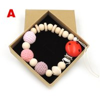 baby pacifier brands - 2017 NEW designs to choose brand new with gift box pastel baby pacifier clips soothie dummy holder CROCHET wooden BEADS NT210