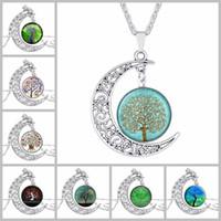 antique swarovski jewelry - Choker Necklace Fashion Jewelry Galaxy Art Glass Cabochon Swarovski Moon Necklace Antique Silver Tree Of Life Statement Necklaces Pendants