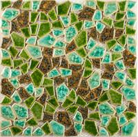 Wholesale Hand craft greens irregular shapes ceramic mosaic tiles mixed colors pocelain mosaic tiles for kitchen backsplash bathroom deco LSSP11