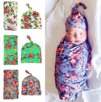 Wholesale Newborn Blanket baby Flower Swaddle Wrap Baby beanie Outfits Photogragh props wrapped towels with flower hat Newborn Sleepsacks K484