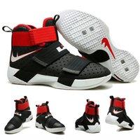 Soldats lebron noir Avis-Vente en gros Vente Hot Air LeBron Zoom Soldier 10 James BLACK UNIVERSITY RED WHITE Men's Blacketball Shoes