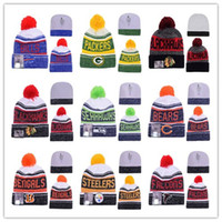 Wholesale Beanies Heather Gray Sideline Sport Knit Hat Football Pom Knit Hats Sports Cap Beanies Hat Mix Match Order All Caps High Quality Hat