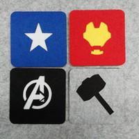 Wholesale Freeshipping Avengers Superhero Square Felt Coaster Ironman Captain Amrican Thor Cup mats Cartoon Pad supply