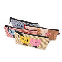 Wholesale Children Cute Pen Bag Fashion Creative Students for Gilrs Canvas Cartoon Blue White Stripe Cat Pencil Case