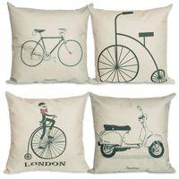 Wholesale Fashion Life Pillow Cover Bike Pillowcase Tea Cojines Decorative Pillows x45cm Cushion Pillow Cases Cheap Throw Pillow Cases