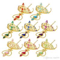 Wholesale Fashion Gold Kids Peach heart Ribbon Wands Cartoon Christmas Gifts Party Crowns Cartoon Crown Magic Wand Princess Accessories B0996
