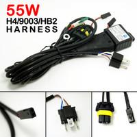 achat en gros de kits de relais hid-2PCS / LOT Voiture 12V 55W H4 / HB2 / 9003 Hi / Lo Beam Bi-xénon Relay Harness pour HID Conversion Kit
