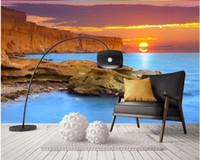 Romántico cálido verano playa amanecer mural mural de fondo mural 3d papel tapiz 3d papeles de pared para tv telón de fondo