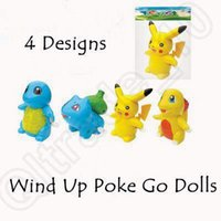 Wholesale 4 Designs Poke Go Wind Up Toys Pikachu Bulbasaur Charmander Squirtle Wind Up Toys Poke Mon Plastic Action Figure CCA5108