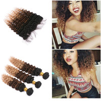 Wholesale Dark Root B Deep Wave Hair With Frontal Ombre Honey Blonde x4 Lace Frontal With Three Tone Virgin Hair Weft Extension