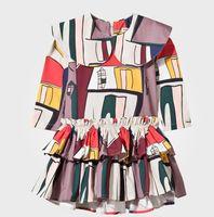 Nouveautés Boutique Filles Robes Enfant Vêtements Plissé Flora Printed Dress Printemps Automne Patchwork Filles Enfants Princess Robes Vêtements