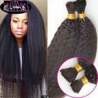 Wholesale Yaki Straight Human Hair Bulk No Attachment Cheap Brazilian Coarse Yaki Hair Extension in Bulk Hair for Braiding No Weft Bundles Deal