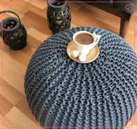 Wholesale 2017 New Baby Stuffed Crochet Pouf Poof Ottoman Footstool Home Decor Pillow Bean Bag Floor cushion Floor Puff