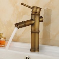 Wholesale Bamboo antique basin sink faucet with single handle single hole bathroom mixer taps of hot cold basin faucets